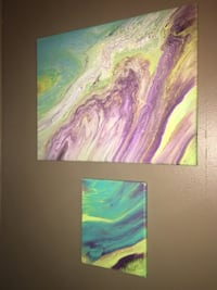 Two green, yellow and purple abstract paintings on canvas  St. Louis