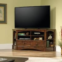 Sauder Harbor View Corner Entertainment Credenza for TVs up to 60, Cherry (NEW IN BOX) Fort Wayne