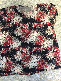 Black, red, and white floral blouse Toronto, M6A 1M9