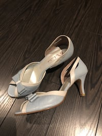 Shoes size 37.5 (7.5) baby blue and beige with kitten heal