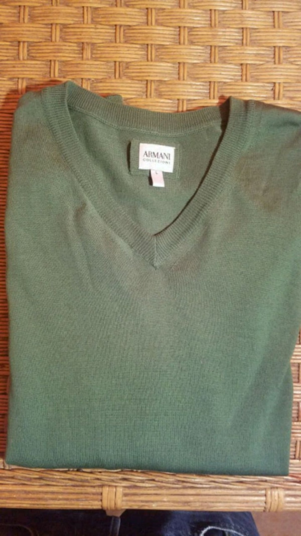 Giorgio Armani Virgin Wool Men's V-neck Sweater In Green ,Gorgeous  d5b14091-6327-4430-8782-39c37fb0f6d5