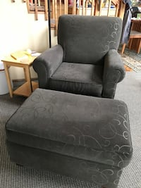 Dark green chair and ottoman, great condition