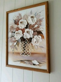 brown wooden framed painting of white flowers Commack, 11725