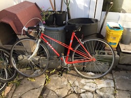 10 speed red bicycle