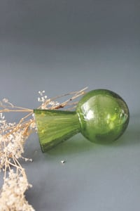 Vintage Green Mini Glass Vase