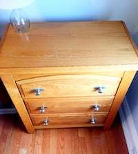2 identical real wood oak night stands/bed side tables