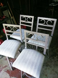 two white wooden framed padded chairs St. Louis, 63136