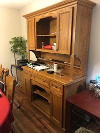 Quality wooden hutch with cabinets and drawers