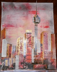 Acrylic torontoscape collage on 30 x 18inch mixed media paper + frame  Markham, L3T 2M2
