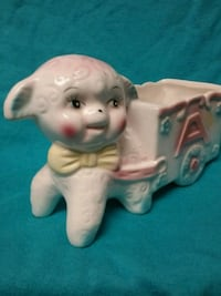 1970's white + pink ceramic lamb with cart Saskatoon, S7J 1X2