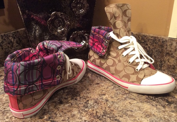 Authentic Coach beige, red, maroon, gray, black, blue, & white high cut shoes ( new )