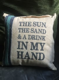 brown and black The Sun, The Sand & A drink print throw pillow Salisbury, 21804