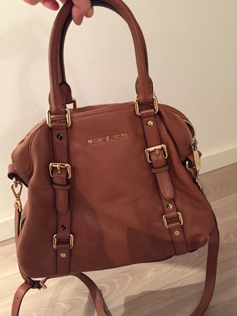 Michael Kors brunt skinn bowler bag