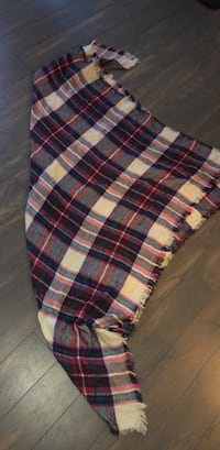 Blue, white, teal, pink and red plaid textile blanket scarf 27 km
