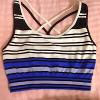 Blue white and black striped sports crop tank top  3734 km