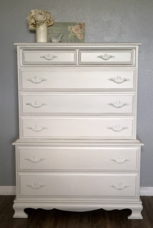 Shabby Chic Tall Dresser / Chest of Drawers White Bedroom Furniture