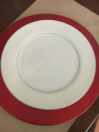 10 white ceramic dinner plates with silver trim,very nice!  Adamstown, 21710