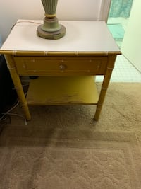 Yellow wooden single drawer side table Rockville, 20851