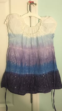 white, blue, and purple cap-sleeved blouse Fairfax, 22030