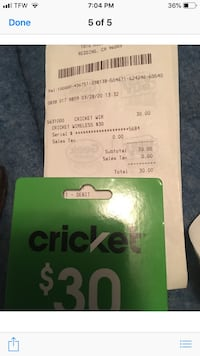Cricket prepaid card