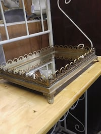 Brass Footed Mirrored Tray/Plateau