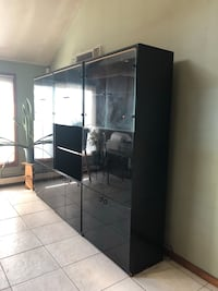 Black wooden framed glass display cabinet Secaucus, 07094
