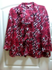 women's pink white and black floral long sleeve top Baton Rouge, 70816