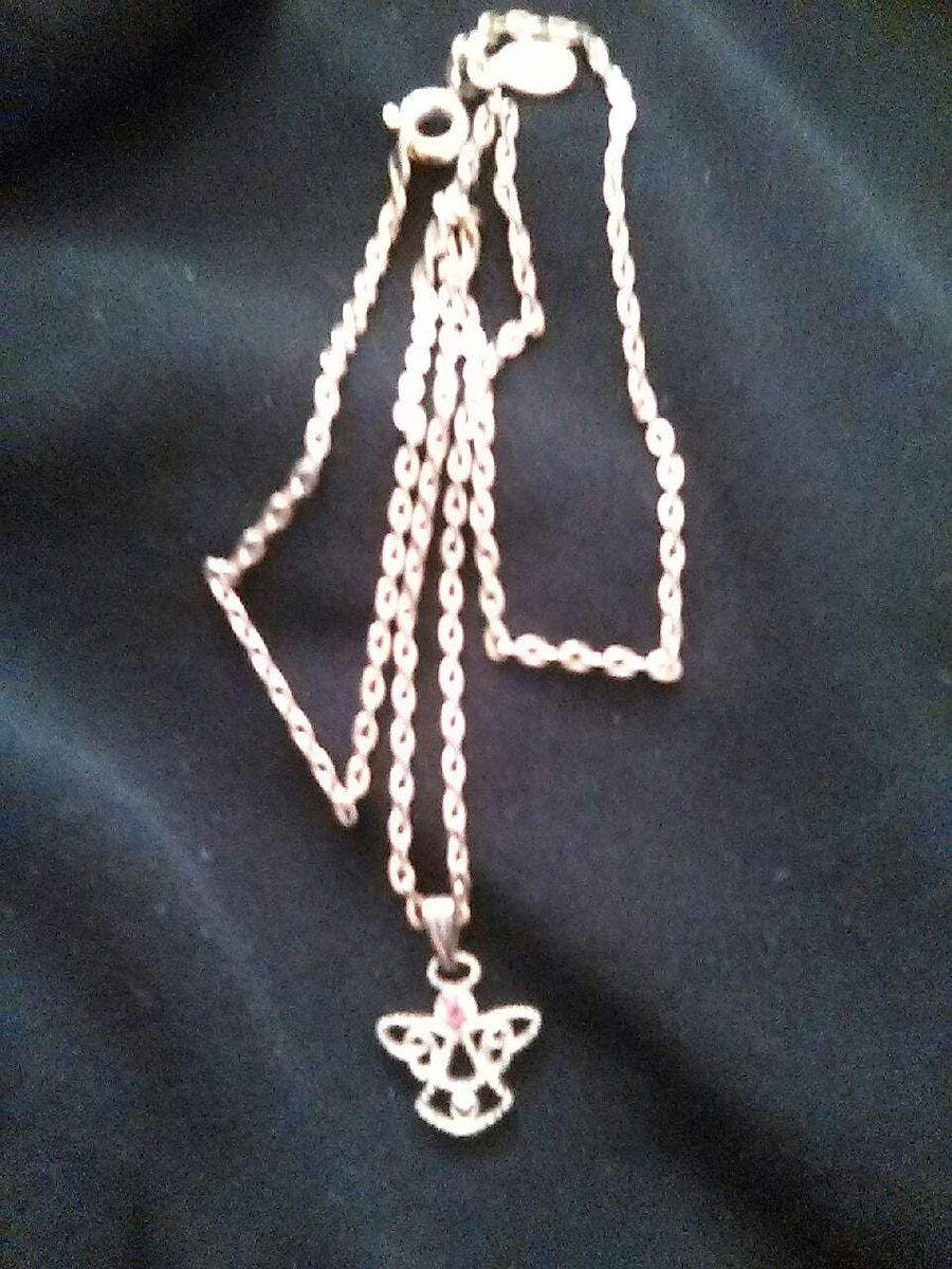 silver chain angel pendant necklace