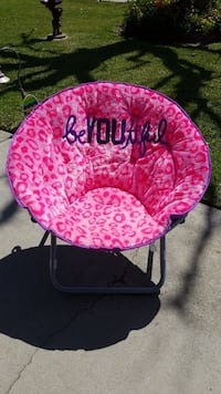 JUSTICE pink and white floral moon chair San Gabriel