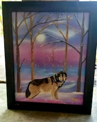 Hand crafted frame with painted wolf art