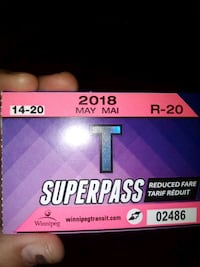 Weekly- Reduced bus pass Winnipeg, R2W 2Z3