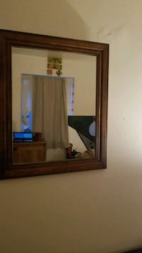 rectangular wall mirror with brown wooden case Pittsburgh, 15206