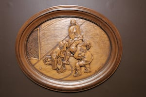 """Authentic 3D hockey wood Carving """"HE SCORES"""" By Kim Murray"""