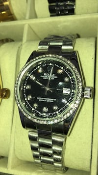 round silver-colored Rolex analog watch with link bracelet Brampton, L6T