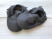 Black leather baby shoes 0-6 months, baby moccasins, baby summer shoes Edmonton, T6R 0S2