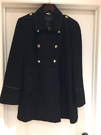 Black double-breasted wool blend coat size 14