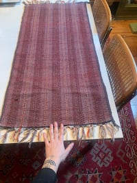 Maroon Cotton Woven Table Runner / Area Rug