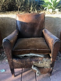 1940s FRENCH LEATHER CLUB CHAIR FOR SALE