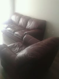 brown leather 3-seat sofa + love seat New Westminster, V3L 5K2