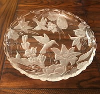 Vintage Round Glass Serving Platter With Embossed Hummingbirds And Flowers! Cerritos, 90703