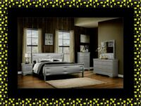 11pc grey Marley bedroom set with mattress Silver Spring