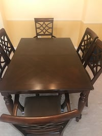 rectangular brown wooden table with six chairs dining set Chantilly, 20105
