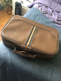 brown leather suitcase bag hand luggage
