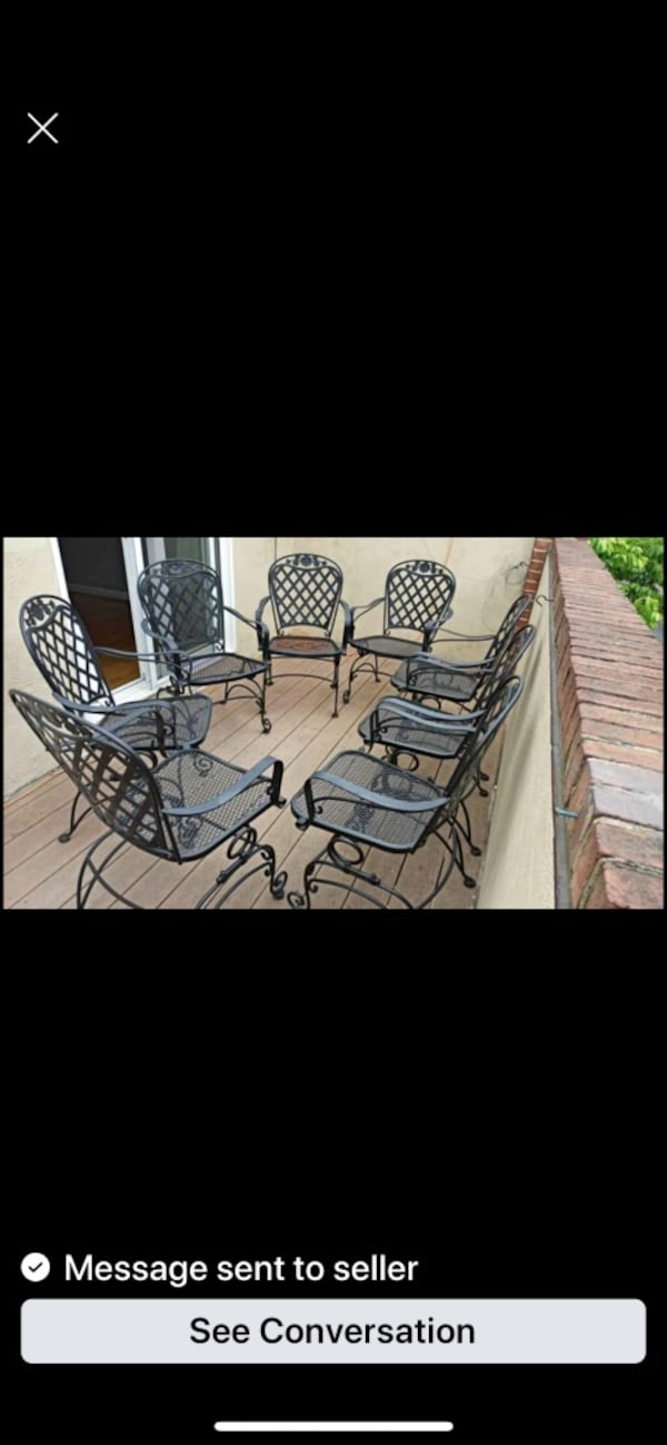 Woodward Wrought Iron Rocking Dining Chairs-only 2 left (1 pair) ba613fcb-c5da-44e6-8e82-4c1dd0203092