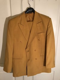 Mustard notch lapel suit jacket Clinton