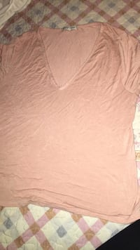 women's brown v-neck shirt Freeport, 11520