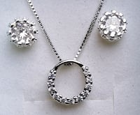 Sterling silver chain and circle cz accented neckl Baltimore, 21224