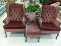2 Queen Ann chairs and Ottoman 125 firm can delive Detroit, 48204