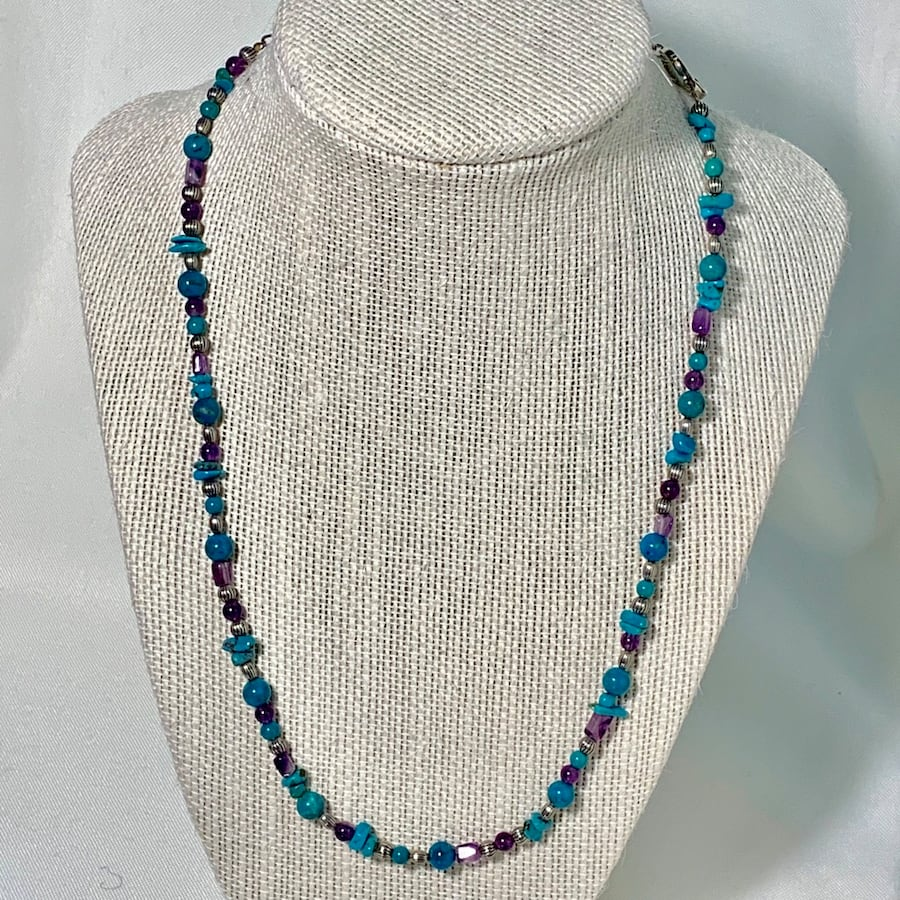 Genuine Sterling Silver Turquoise Amethyst Bead Necklace
