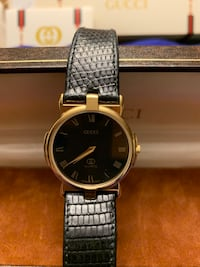 Gucci gold plated  leather Swiss watch REVERE